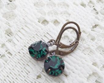 Estate Style Swarovski Emerald Green Earrings