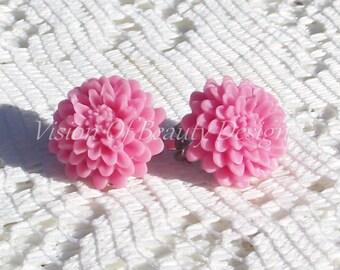 Pink Chrysanthemum Spring Flower Clip On Earrings