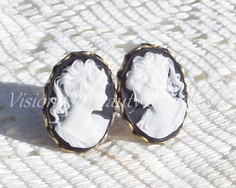 Vintage Style Cameo Clip On Earrings