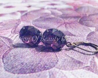 Amethyst Swarovski Drop Earrings Antique Brass, Purple Earrings
