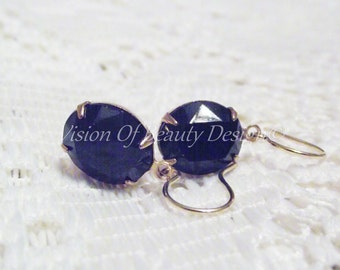 Jet Black Swarovski Rhinestone Earrings