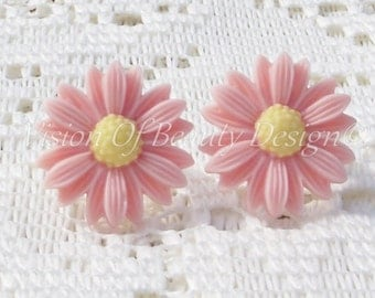 Pretty in Pink Daisy Spring Flower Clip On Earrings