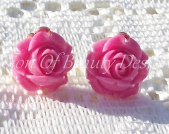 Pink  Rose, Spring Flower Clip On Earrings