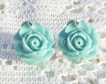Teal Blue Rose, Spring Flower Clip On Earrings