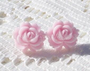 Pale Pink Rose Post Earrings Vintage Style Rose Stud Earrings