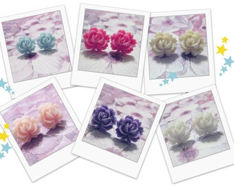 Jewelry Gift Set -  3 Pair - Vintage Style Rose Stud Earrings - Choose Your Colors