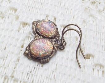 Dainty Vintage Fire Opal Earrings in Antiqued Brass  - Simple Elegance - by Vision of Beauty Design