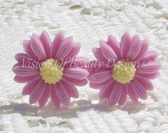 Spring Time Easter Pink Daisy Clip On Earrings