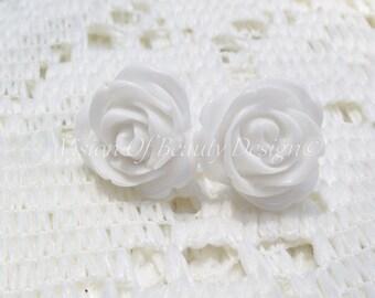 White Blooming Rose Stud Earrings