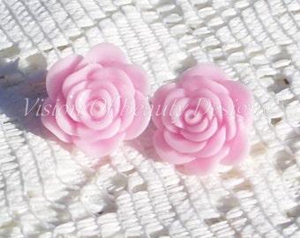 Blooming Pink Spring Flower Clip On Earrings