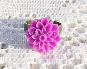 Chrysanthemum Adjustable Ring - Pick A Color, Gift for Her, Under 10