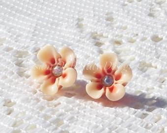 Tangerine and Cream Two-Tone Petite Flower Stud Earrings, Clip On Earrings