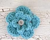 Crocheted Flower Clip, Aqua