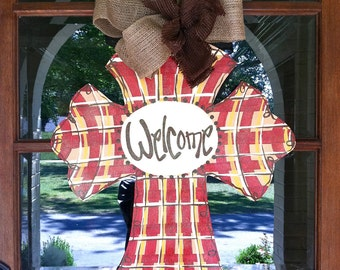 French Plaid Cross Door Hanger - Bronwyn Hanahan Art