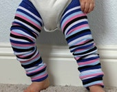 Baby Leg Warmers in Small Blue Pink and Black Stripes