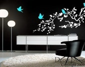 SALE SALE SALE Large Birds Around the Cherry Blossom Branch Vinyl Wall Decal SALE SALE