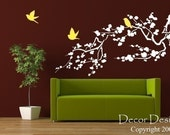 Birds Around the Cherry Blossom Branch Vinyl Wall Decal