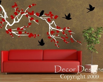 Birds Around the Cherry Blossom Branch Vinyl Wall Decal 3 Colors
