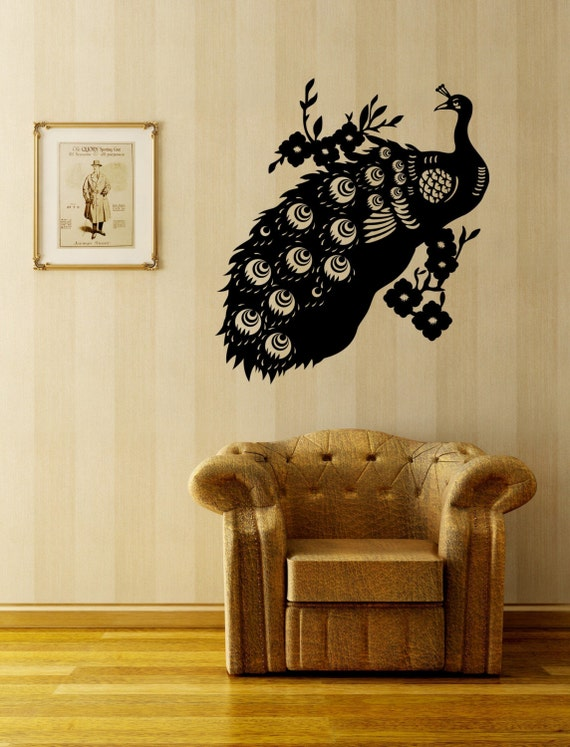 vintage peacock wall decal by decordesigns on etsy. Black Bedroom Furniture Sets. Home Design Ideas