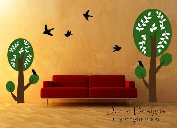 SALE. 50% OFF. 1 Day Only. Use Coupon Code CYBER50 Gorgeous Double Trees With Birds Vinyl Wall Decal