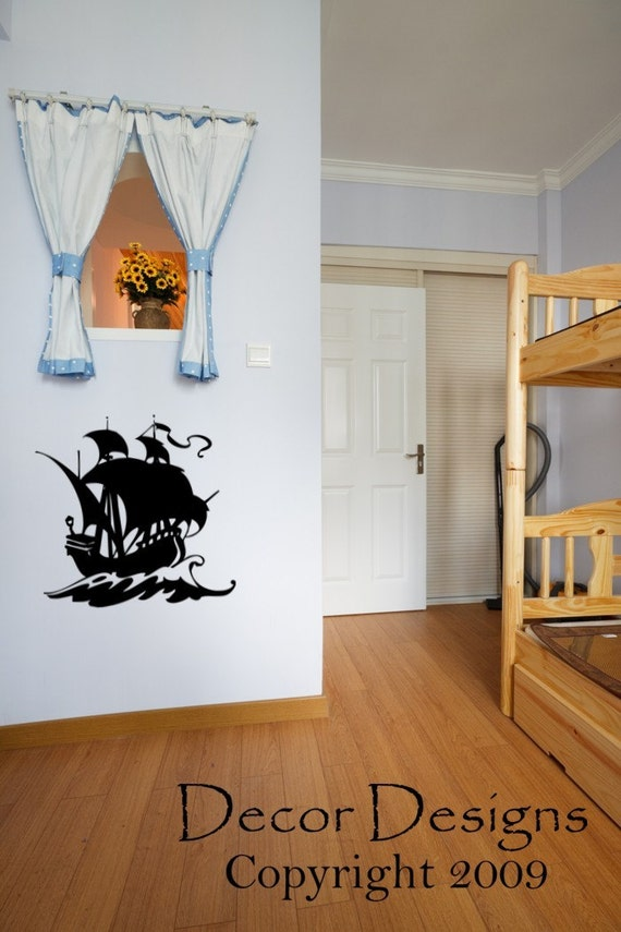 pirate ship wall decal by decordesigns on etsy. Black Bedroom Furniture Sets. Home Design Ideas