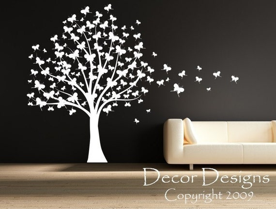 Custom Listing for Krynn SALE BLACK Huge Butterfly Tree With Trailing Butterflies Vinyl Wall Decal