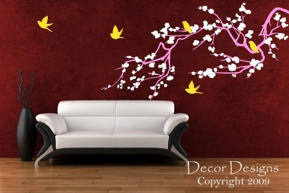 Birds Around The Cherry Blossom Branch  3 Colors Vinyl Wall Decal Sticker