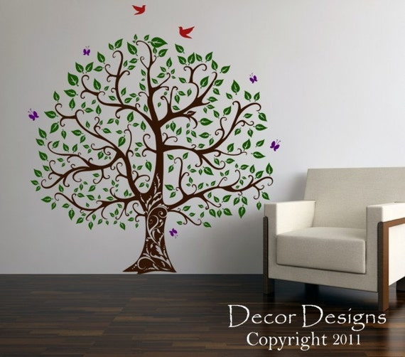 Gorgeous Leaved Bird And Butterfly Tree Vinyl Wall Decal Sticker