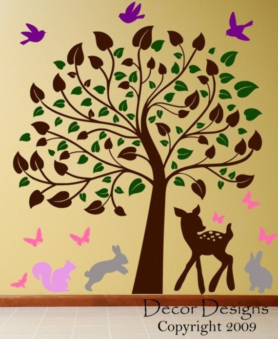 Baby Deer Scene And Nursery Tree Vinyl Wall Decal Sticker