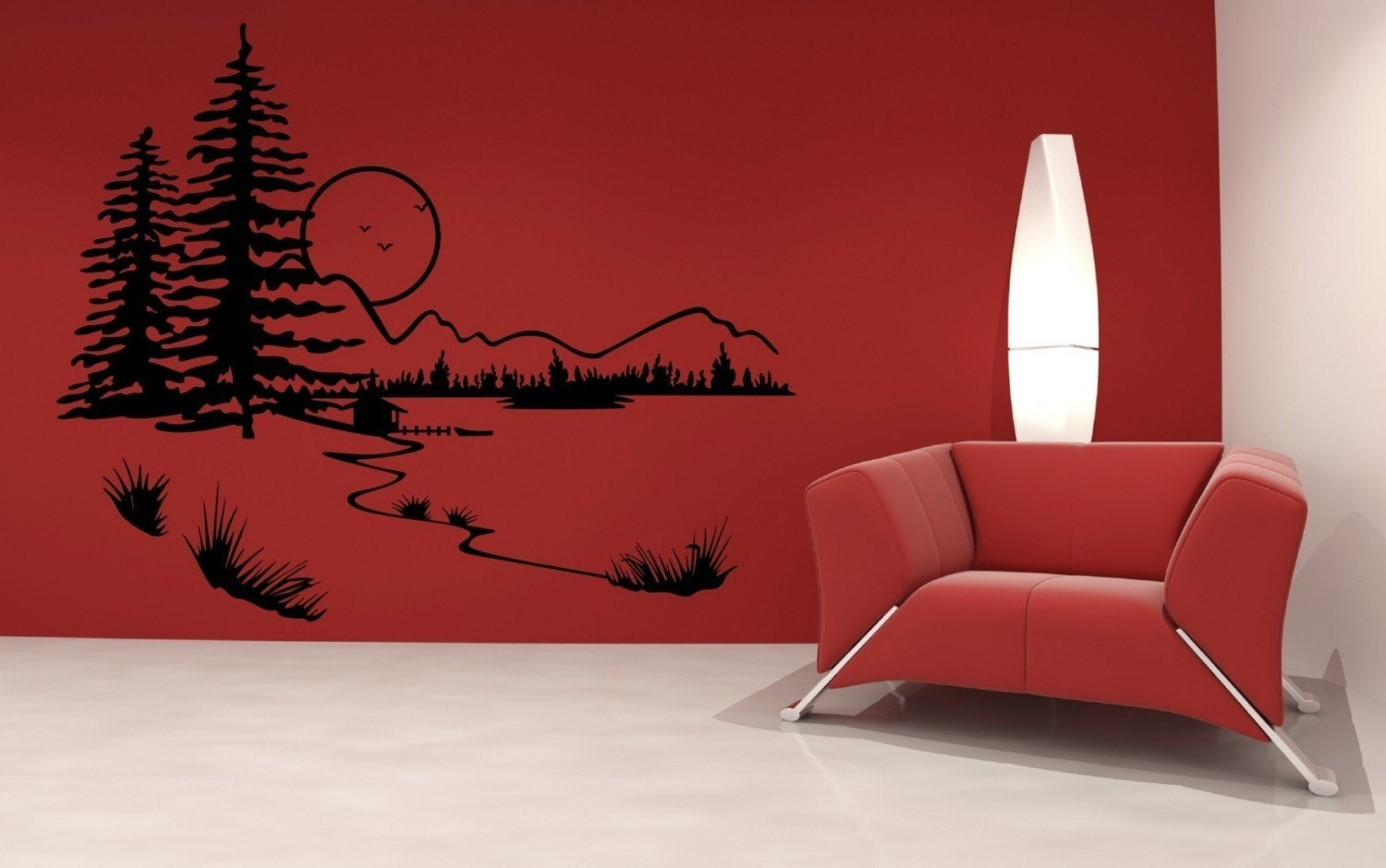 Serene Mountain Wall Decal by DecorDesigns on Etsy