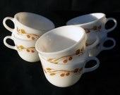 Vintage Set of Six Pyrex Harvest Home Cups