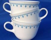Vintage Set of Three Corelle Snowflake Blue Cups