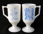 Vintage Set of Two Heavenly Donuts Milk Glass Footed Cups