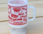 Vintage Las Vegas Casino Federal Milk Glass Souvenir Pedestal Mug