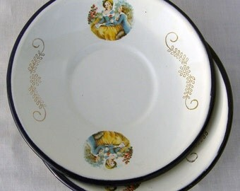 Vintage Set of Two TrEs Rococo Enamel Saucers