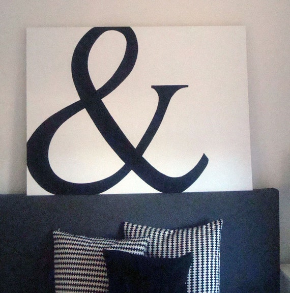 Ampersand wall decor handpainted canvas for Ampersand decor