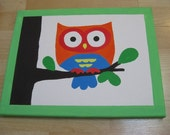 Wise Owls Nursery Baby Wall Art Decor -Set of 3 - Hand painted Acrylic on 11X14 wrapped canvas -
