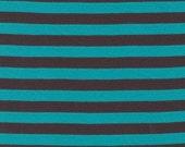 Chocolate Clown Stripe Interlock Knit, Michael Miller