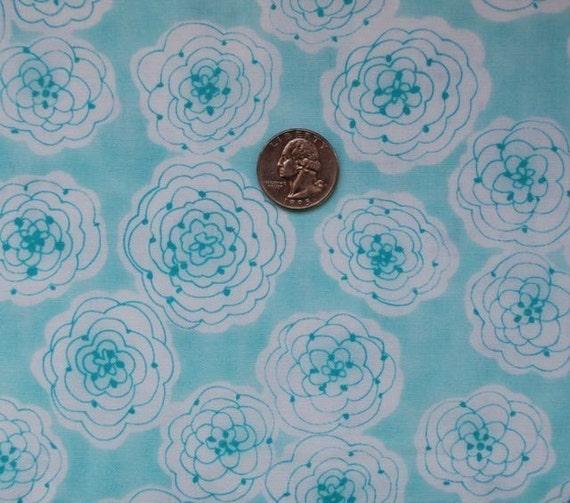 Fluffly Peonies on Aqua, Little Palm Paisley,  Novelty Fabric