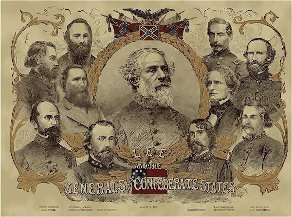 Civil War Confederate Generals Panel Gettysburg Ca 1865