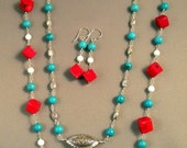 Red Coral Cubes.....with  Turquoise, White Coral and SilverNecklace and Earring Set