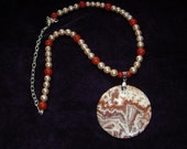 Necklace From The  Earth and Sea Freshwater Peach Pearls, Crazy Lace Pendant style