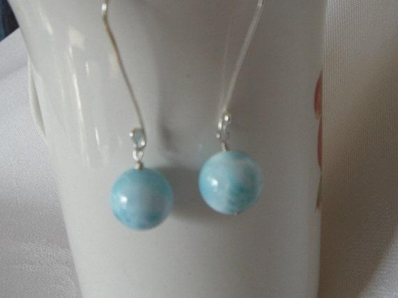 Sky Blue Larimar and Fine Silver Earrings  Elegant Simplicity