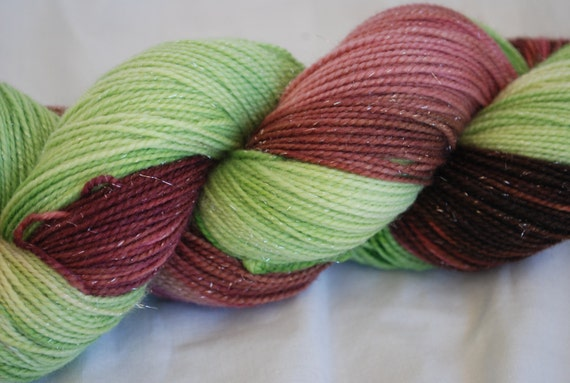 Hand painted Superwash Sparkle sock yarn - Cherry Blossom