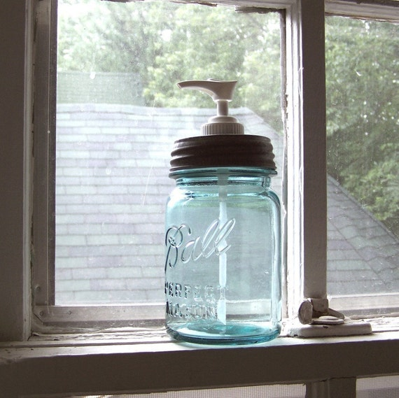 Reserved for Karen, a Vintage Pint Mason Jar Soap Dispenser with a plastic pump