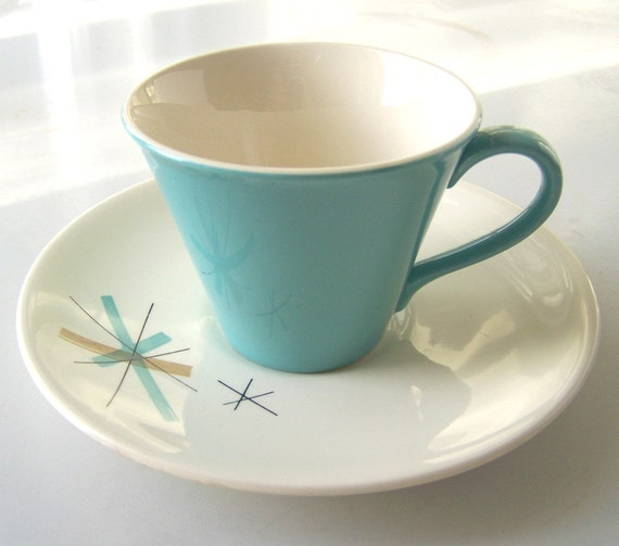 Single Jetsons Cup and Saucer, a tea cup and saucer in Salem's North Star pattern
