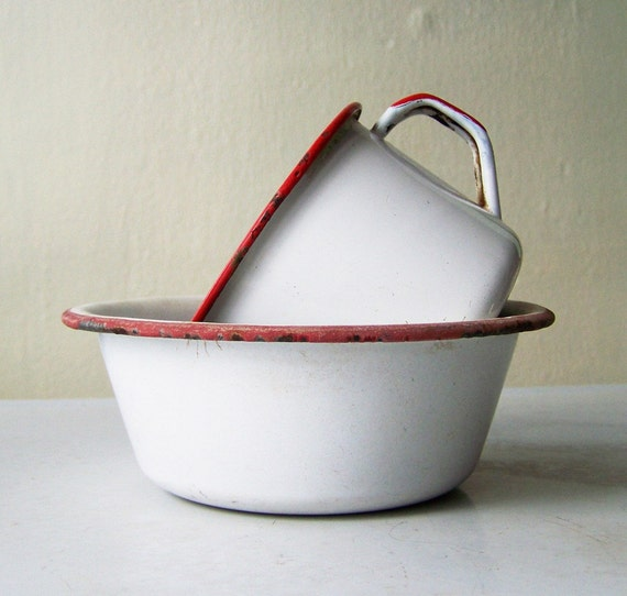 Red Tipped Enamelware Bowl and Cup