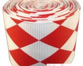 5 yards (15 feet) - Red and White Argyle Jester Print on Grosgrain Ribbon - 1.5 inch wide