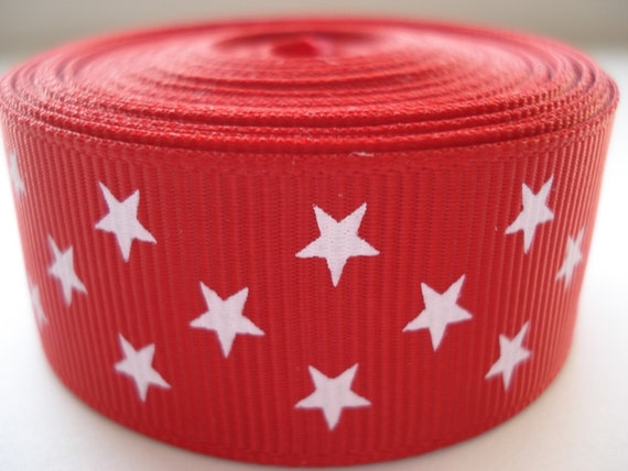 5 yards - 7/8 Red Grosgrain ribbon with White Stars - Patriotic Ribbon - 4th of July Ribbon