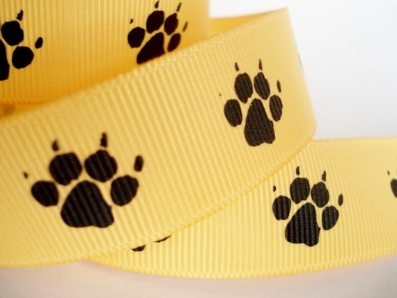 Puppy/ Cat/ Animal Paw Print with Claws Grosgrain Ribbon - Black and Bright Yellow - 7/8 inch wide